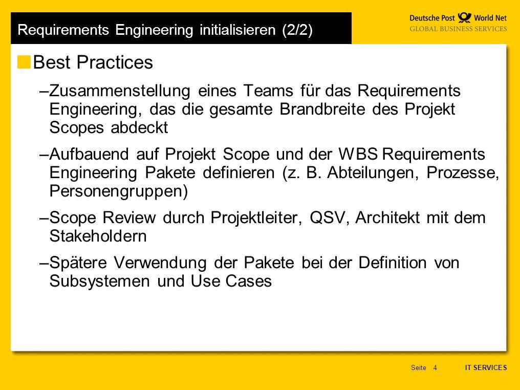 IT SERVICES Seite35 Testfälle vorbereiten (1/2) Ziel des Arbeitsschrittes –Zu jedem Anwendungsfall sind Testkriterien zu definieren, die das System erfüllen muss, um als akzeptabel betrachtet zu werden –Die Anforderungen werden mit dem Festlegen der Abnahmekriterien messbar Ergebnis des Arbeitsschrittes –Testkriterien für jeden Anwendungsfall (siehe nachfolgendes Beispiel) Best Practices –Für jede Aktivität innerhalb eines Anwendungsfalls mindestens ein Testkriterium aufschreiben –Testkriterien müssen in der Form erfüllt nicht-erfüllt überprüfbar sein.