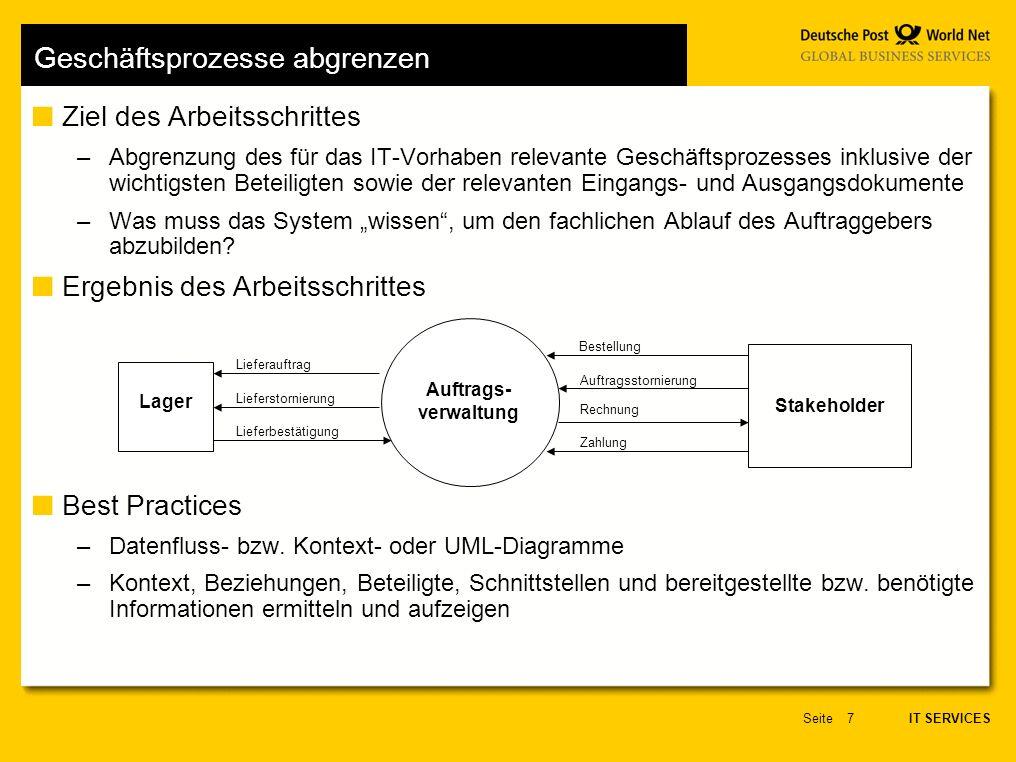 IT SERVICES Seite18 Beziehungen Beziehungen/Assoziationen –repräsentieren Zusammenhänge zwischen Fachklassen und –modellieren dauerhafte Zusammenhänge.