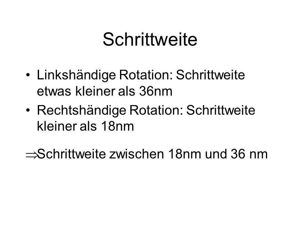 Schrittweite Linkshändige Rotation: Schrittweite etwas kleiner als 36nm Rechtshändige Rotation: Schrittweite kleiner als 18nm Schrittweite zwischen 18