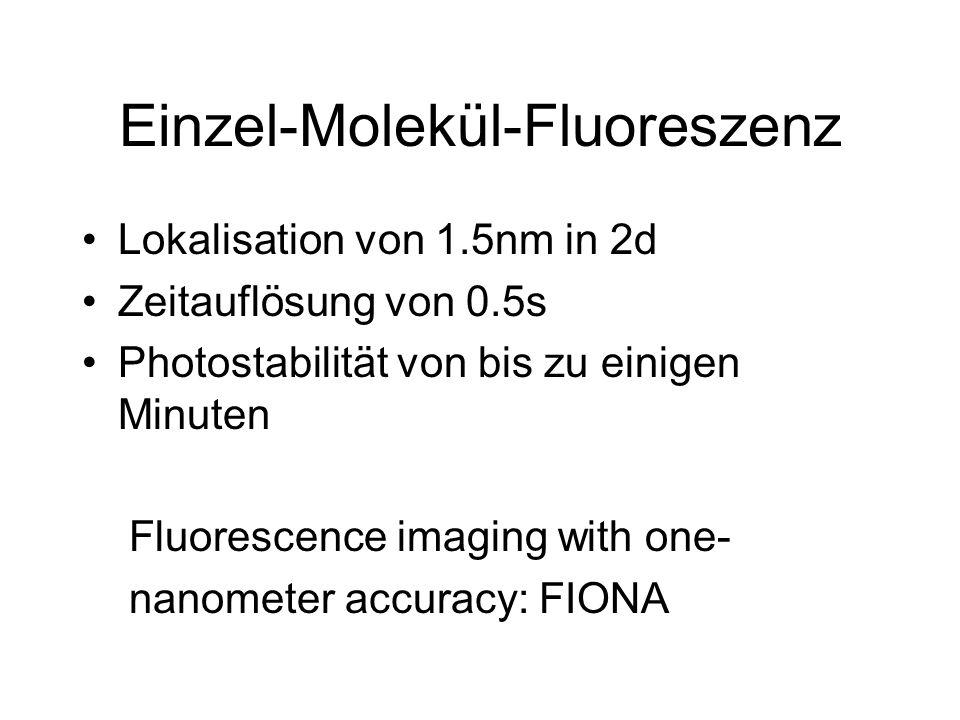 Einzel-Molekül-Fluoreszenz Lokalisation von 1.5nm in 2d Zeitauflösung von 0.5s Photostabilität von bis zu einigen Minuten Fluorescence imaging with on