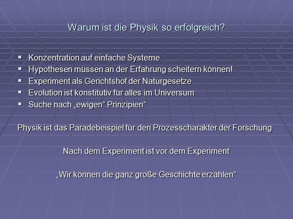Warum ist die Physik so erfolgreich? Konzentration auf einfache Systeme Konzentration auf einfache Systeme Hypothesen müssen an der Erfahrung scheiter
