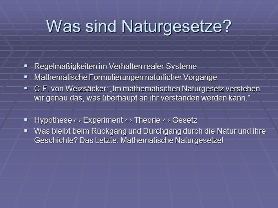 Was sind Naturgesetze? Regelmäßigkeiten im Verhalten realer Systeme Regelmäßigkeiten im Verhalten realer Systeme Mathematische Formulierungen natürlic
