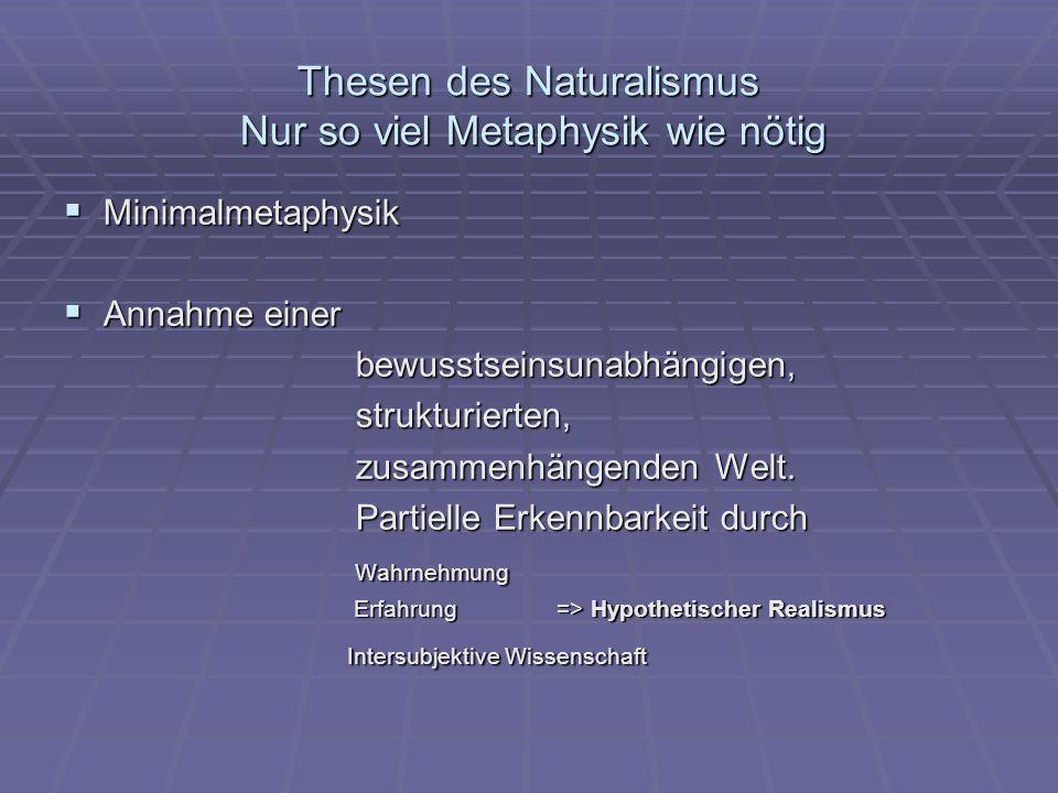 Thesen des Naturalismus Nur so viel Metaphysik wie nötig Minimalmetaphysik Minimalmetaphysik Annahme einer Annahme einer bewusstseinsunabhängigen, bew