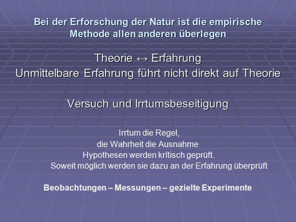 Bei der Erforschung der Natur ist die empirische Methode allen anderen überlegen Theorie Erfahrung Unmittelbare Erfahrung führt nicht direkt auf Theor