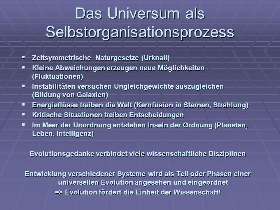 Das Universum als Selbstorganisationsprozess Zeitsymmetrische Naturgesetze (Urknall) Zeitsymmetrische Naturgesetze (Urknall) Kleine Abweichungen erzeu