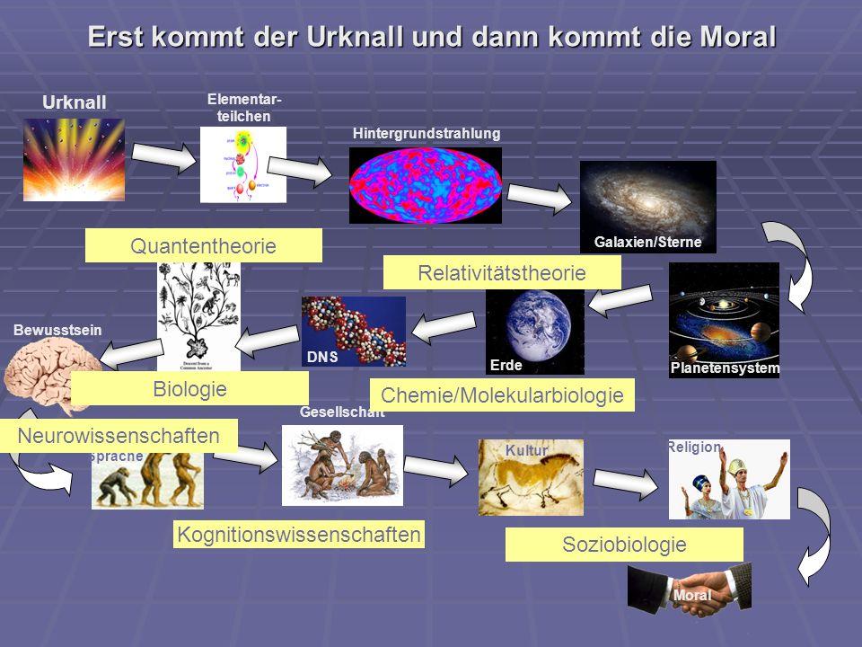 Erst kommt der Urknall und dann kommt die Moral Urknall Hintergrundstrahlung Galaxien/Sterne Planetensystem Erde DNS Leben Bewusstsein Mensch/ Sprache