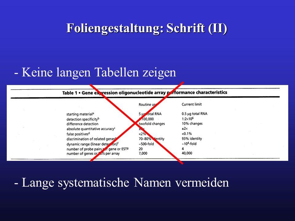 Foliengestaltung: Schrift (II) - Keine langen Tabellen zeigen - Lange systematische Namen vermeiden