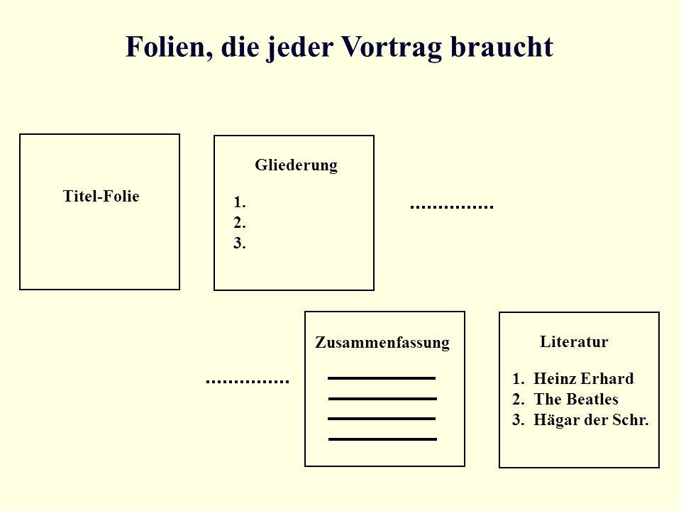 Folien, die jeder Vortrag braucht Titel-Folie Gliederung 1. 2. 3. Zusammenfassung Literatur 1. Heinz Erhard 2. The Beatles 3. Hägar der Schr.
