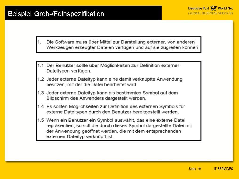 IT SERVICES Seite10 Beispiel Grob-/Feinspezifikation