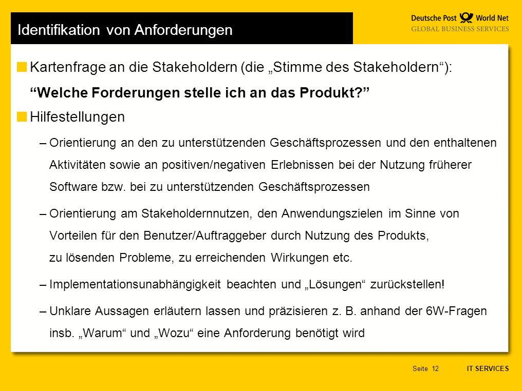 IT SERVICES Seite12 Identifikation von Anforderungen Kartenfrage an die Stakeholdern (die Stimme des Stakeholdern): Welche Forderungen stelle ich an das Produkt.