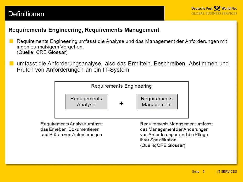 IT SERVICES Seite5 Requirements Engineering, Requirements Management Definitionen Requirements Engineering umfasst die Analyse und das Management der Anforderungen mit ingenieurmäßigem Vorgehen.