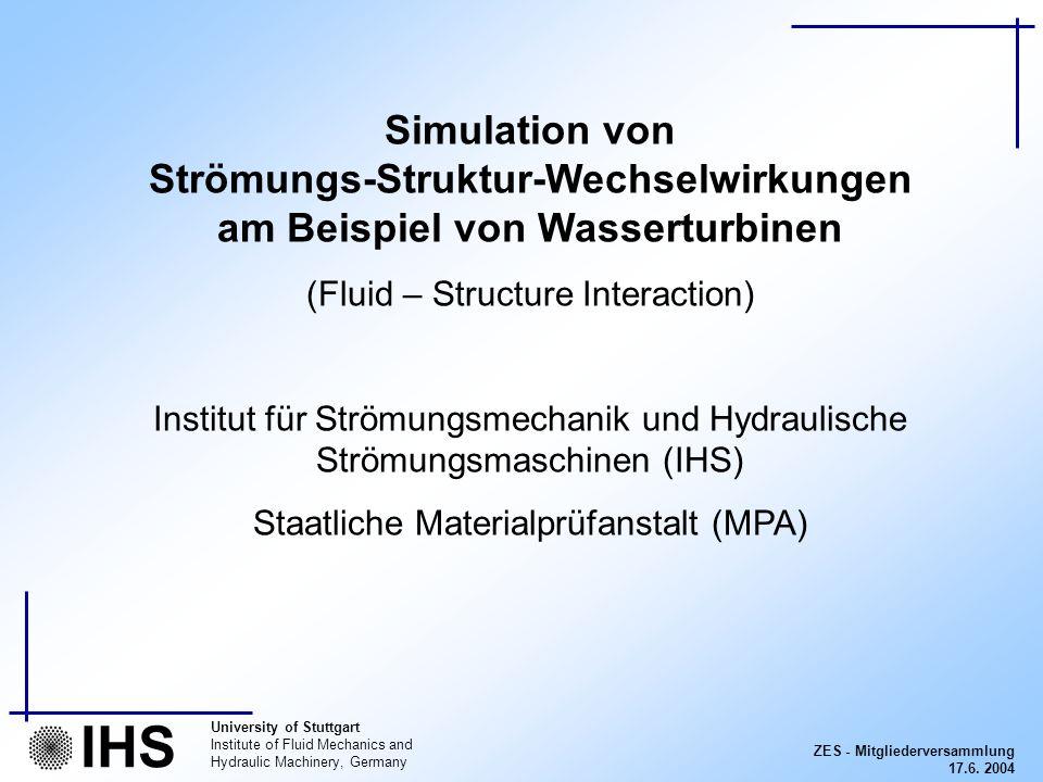 ZES - Mitgliederversammlung 17.6. 2004 University of Stuttgart Institute of Fluid Mechanics and Hydraulic Machinery, Germany IHS Simulation von Strömu