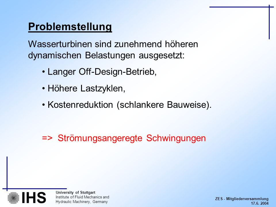 ZES - Mitgliederversammlung 17.6. 2004 University of Stuttgart Institute of Fluid Mechanics and Hydraulic Machinery, Germany IHS Problemstellung Wasse