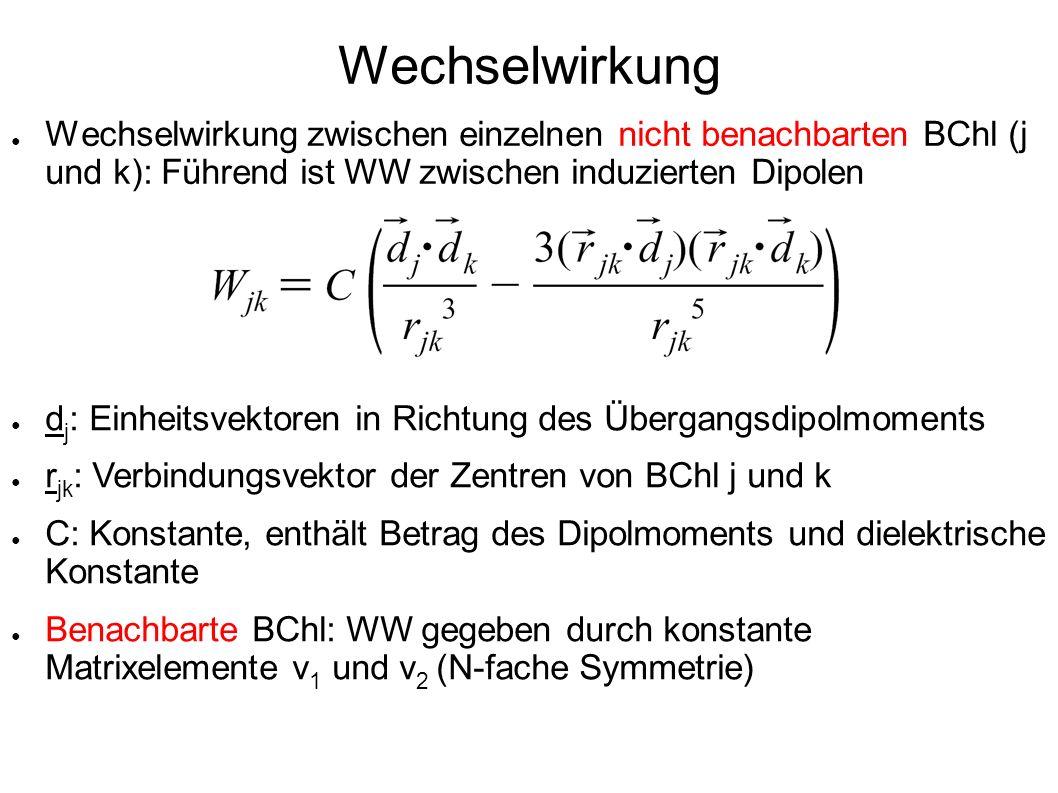 Wechselwirkung Wechselwirkung zwischen einzelnen nicht benachbarten BChl (j und k): Führend ist WW zwischen induzierten Dipolen d j : Einheitsvektoren
