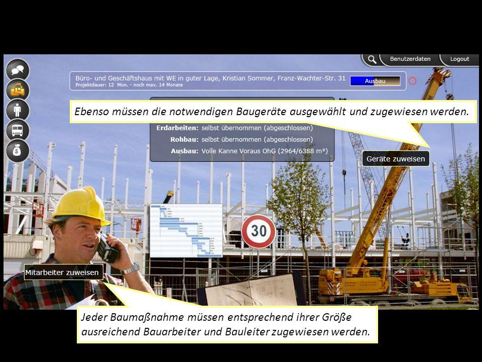 Jeder Baumaßnahme müssen entsprechend ihrer Größe ausreichend Bauarbeiter und Bauleiter zugewiesen werden.