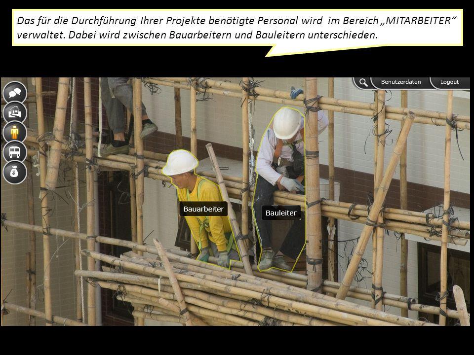 Das für die Durchführung Ihrer Projekte benötigte Personal wird im Bereich MITARBEITER verwaltet.