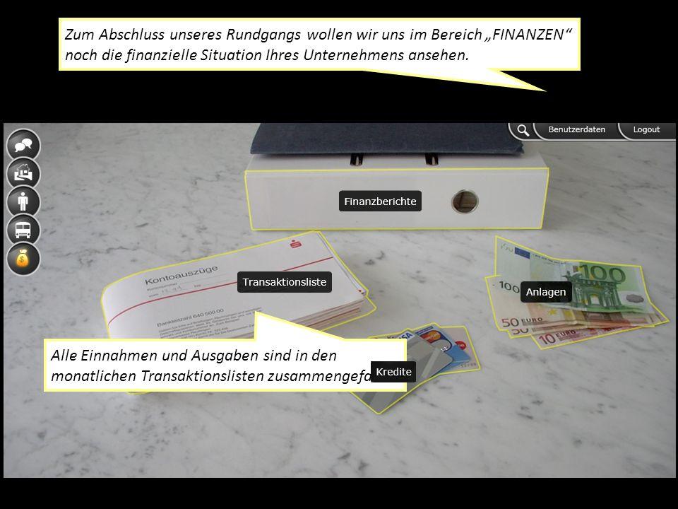 Zum Abschluss unseres Rundgangs wollen wir uns im Bereich FINANZEN noch die finanzielle Situation Ihres Unternehmens ansehen.