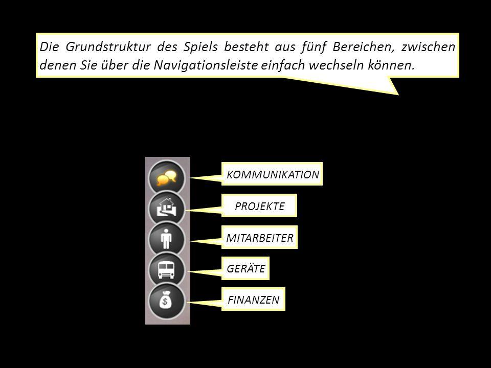 Die Grundstruktur des Spiels besteht aus fünf Bereichen, zwischen denen Sie über die Navigationsleiste einfach wechseln können.