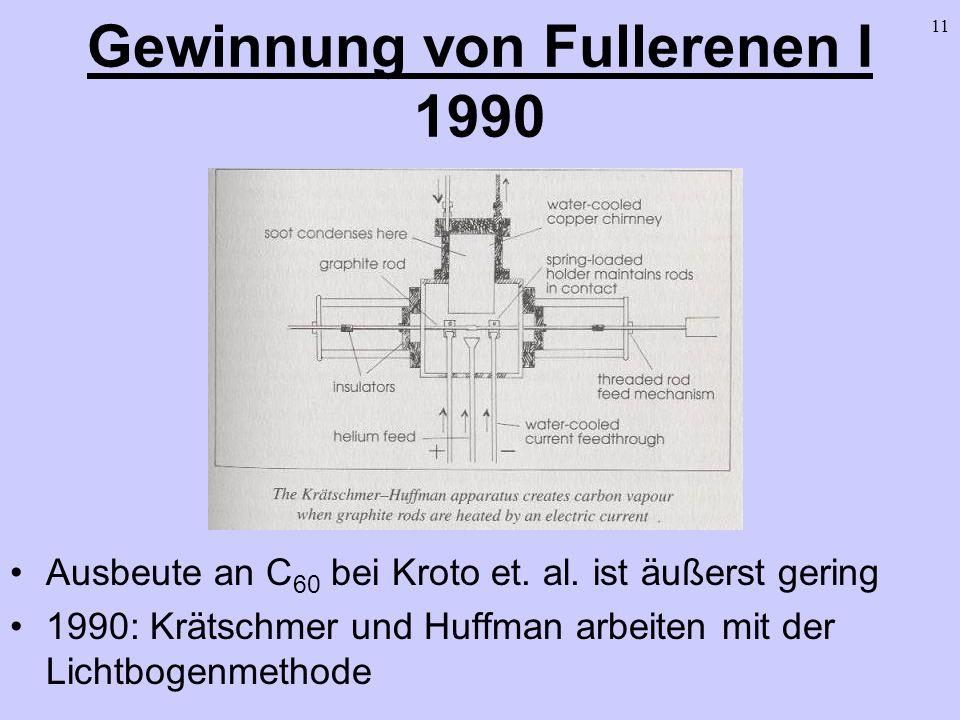 11 Gewinnung von Fullerenen I 1990 Ausbeute an C 60 bei Kroto et. al. ist äußerst gering 1990: Krätschmer und Huffman arbeiten mit der Lichtbogenmetho
