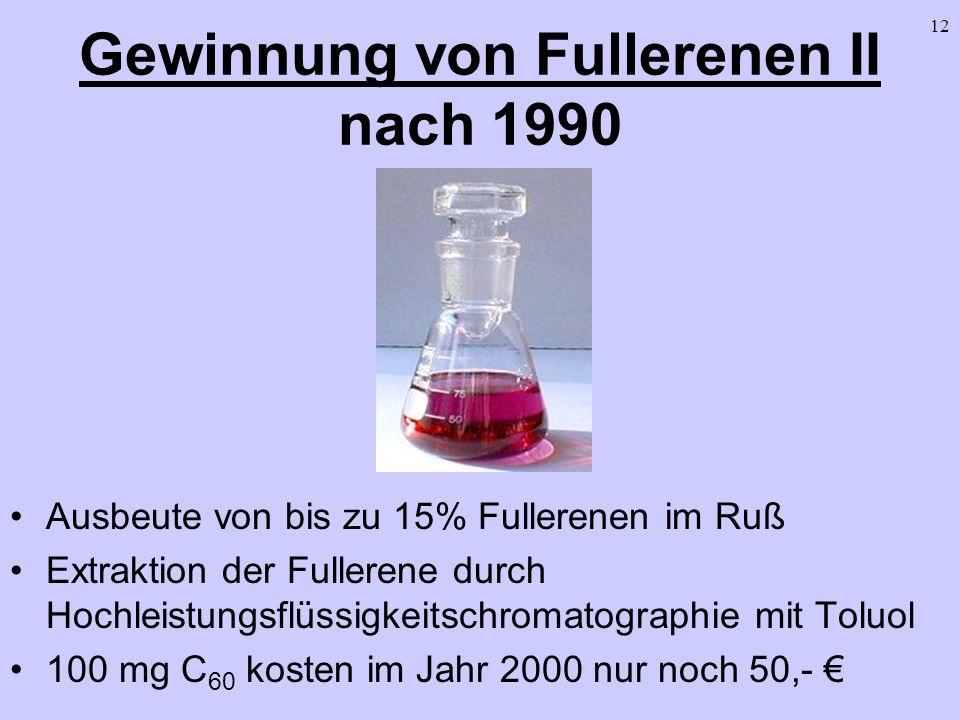 12 Gewinnung von Fullerenen II nach 1990 Ausbeute von bis zu 15% Fullerenen im Ruß Extraktion der Fullerene durch Hochleistungsflüssigkeitschromatogra