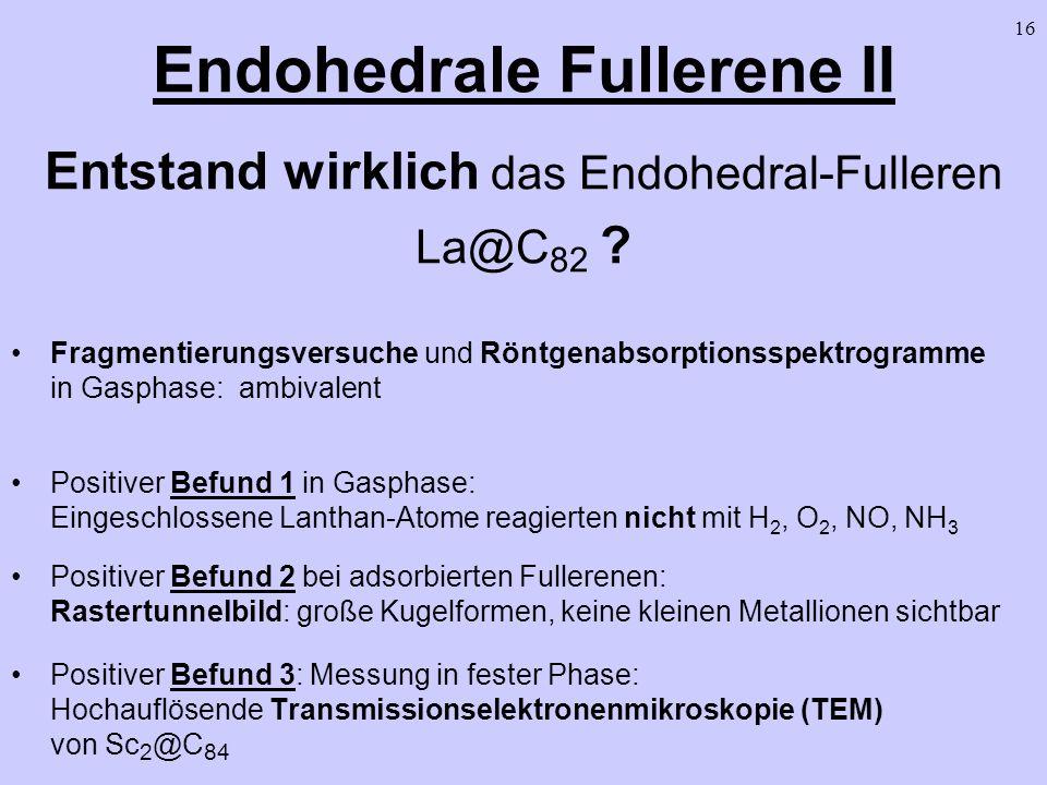 16 Endohedrale Fullerene II Entstand wirklich das Endohedral-Fulleren La@C 82 ? Fragmentierungsversuche und Röntgenabsorptionsspektrogramme in Gasphas