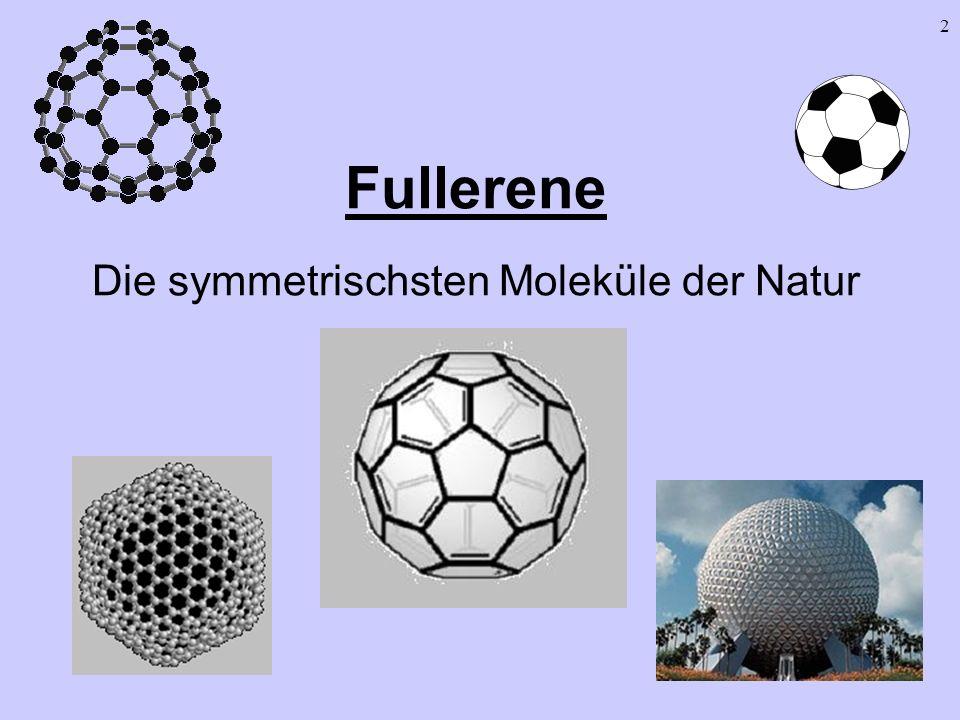 23 Berechnung von Fullerenen I Eulerscher Polyedersatz Euler: E + F - K = 2 E = Anzahl der Ecken F = Anzahl der Flächen K = Anzahl der Kanten P = Anzahl der Pentagone H = Anzahl der Hexagone Schlußfolgerungen: Jedes Polyeder aus 5- und 6-Ecken enthält genau 12 Fünfecke Zahl der 6-Ecke ist frei (aber gerade)