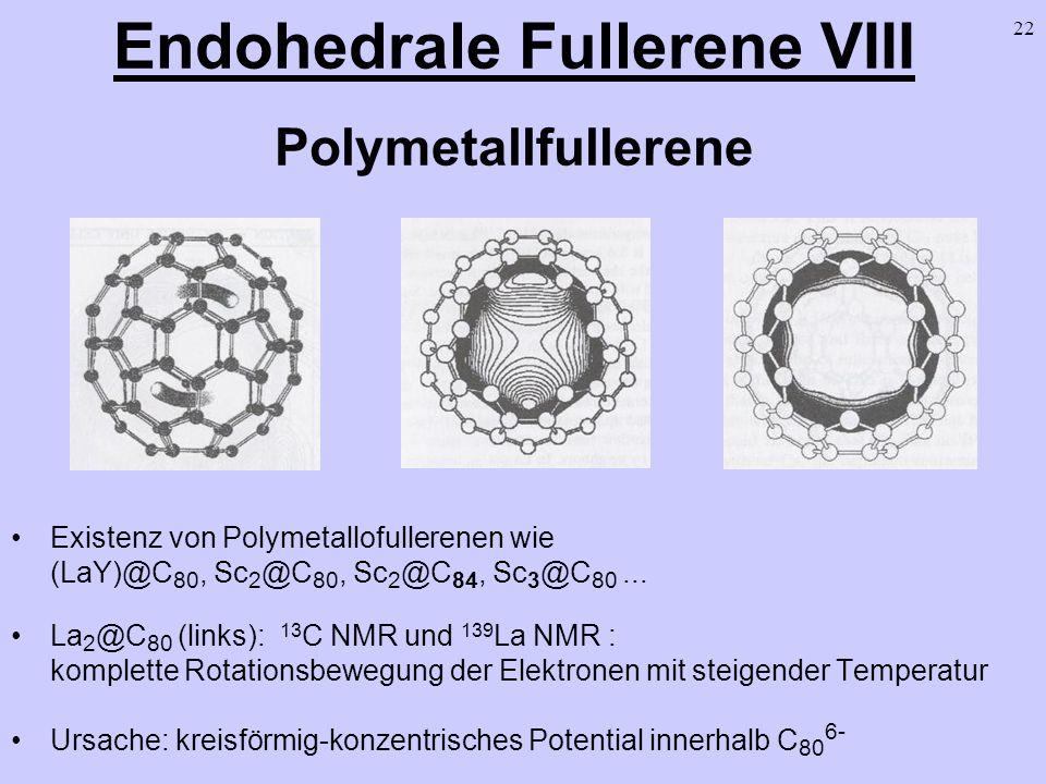 22 Endohedrale Fullerene VIII Polymetallfullerene Existenz von Polymetallofullerenen wie (LaY)@C 80, Sc 2 @C 80, Sc 2 @C 84, Sc 3 @C 80... La 2 @C 80