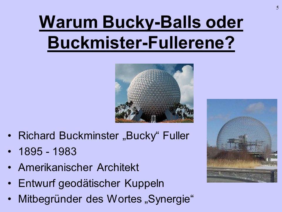 5 Warum Bucky-Balls oder Buckmister-Fullerene? Richard Buckminster Bucky Fuller 1895 - 1983 Amerikanischer Architekt Entwurf geodätischer Kuppeln Mitb