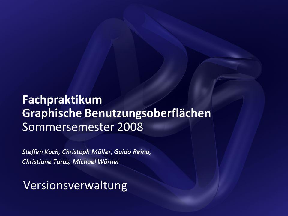 Fachpraktikum Graphische Benutzungsoberflächen Sommersemester 2008 Steffen Koch, Christoph Müller, Guido Reina, Christiane Taras, Michael Wörner Versionsverwaltung