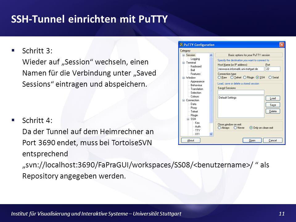 Institut für Visualisierung und Interaktive Systeme – Universität Stuttgart11 SSH-Tunnel einrichten mit PuTTY Schritt 3: Wieder auf Session wechseln, einen Namen für die Verbindung unter Saved Sessions eintragen und abspeichern.