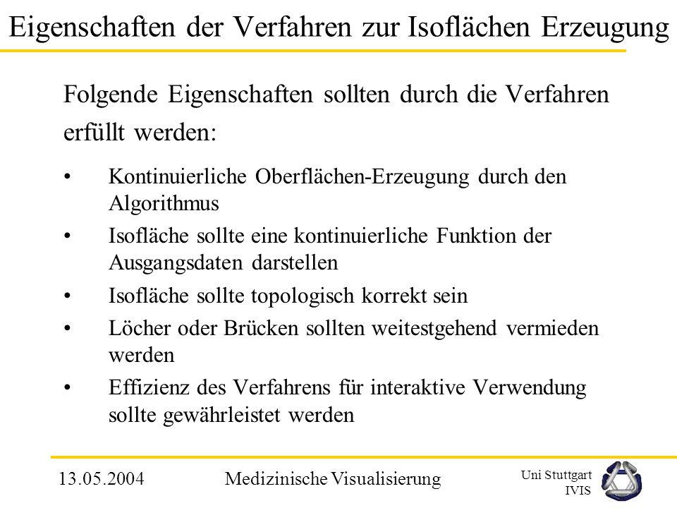 Uni Stuttgart IVIS 13.05.2004Medizinische Visualisierung 2.3 Isoflächen Isoflächen werden zur Visualisierung von diskreten Datensätzen angewendet Defi