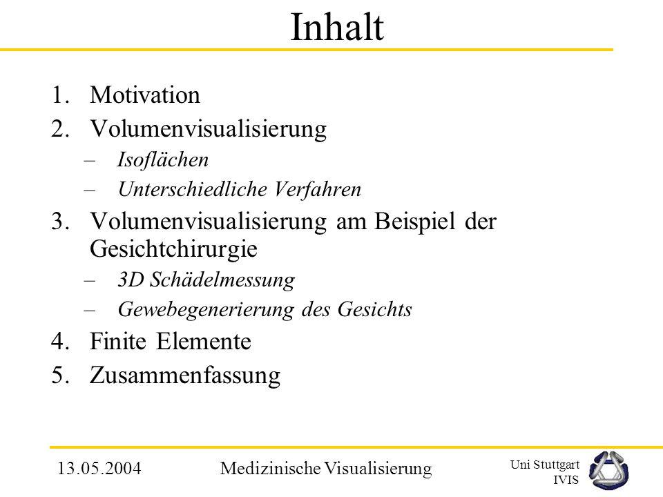 Uni Stuttgart IVIS 13.05.2004Medizinische Visualisierung Indirekte 3D-Volumenvisualisierung am Beispiel der Computergestützten Gesichtchirurgie Semina