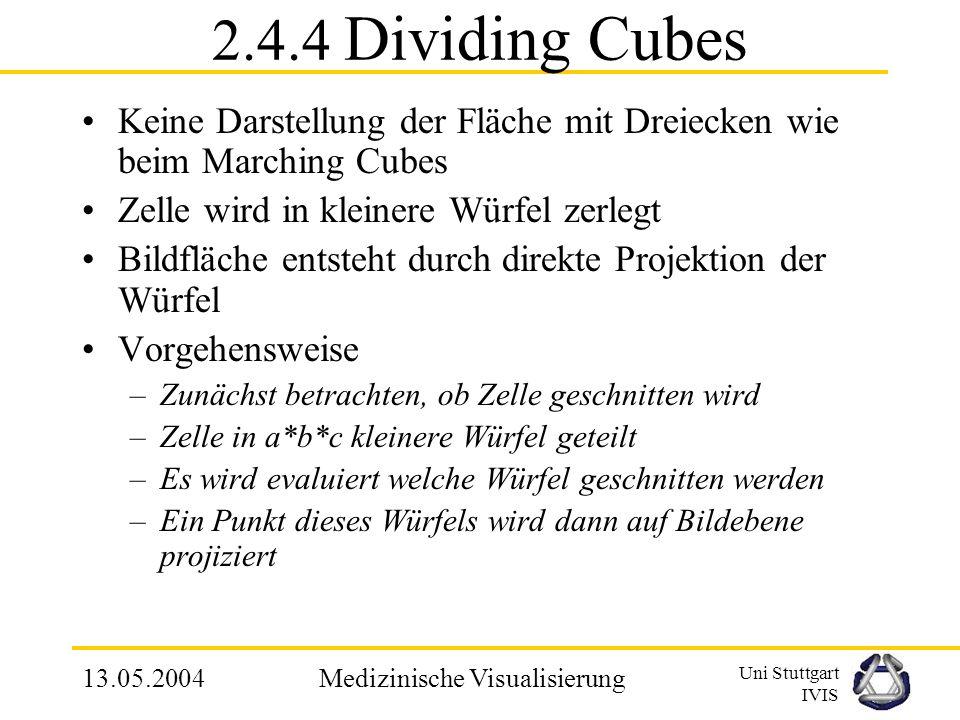 Uni Stuttgart IVIS 13.05.2004Medizinische Visualisierung MCA - Nachteile Verlust vieler Daten –Objekte nur als Oberfläche betrachtet Anfällig für Date
