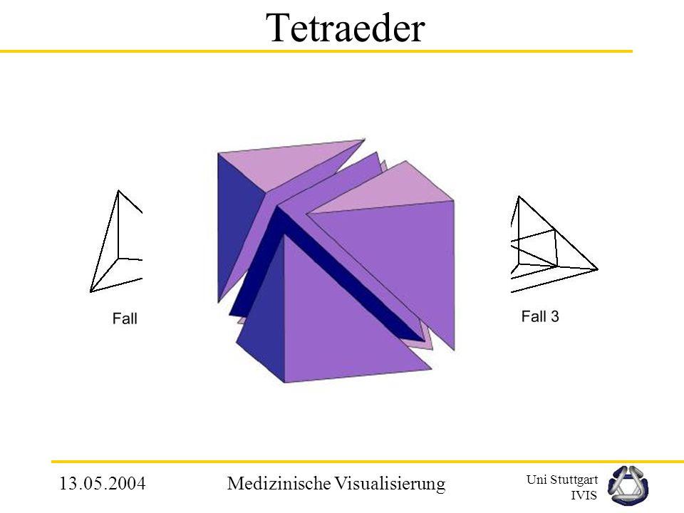 Uni Stuttgart IVIS 13.05.2004Medizinische Visualisierung 2.4.5 Marching Tetrahedron Grundlage für Isoflächenberechnung ist ein Tetraedergitter Anwendu