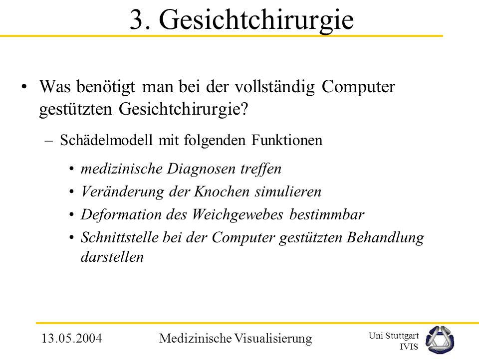 Uni Stuttgart IVIS 13.05.2004Medizinische Visualisierung Wesentliche Punkte und Vorgehensweisen bei computergestützter Gesichtchirurgie 5.Erneute Ausw