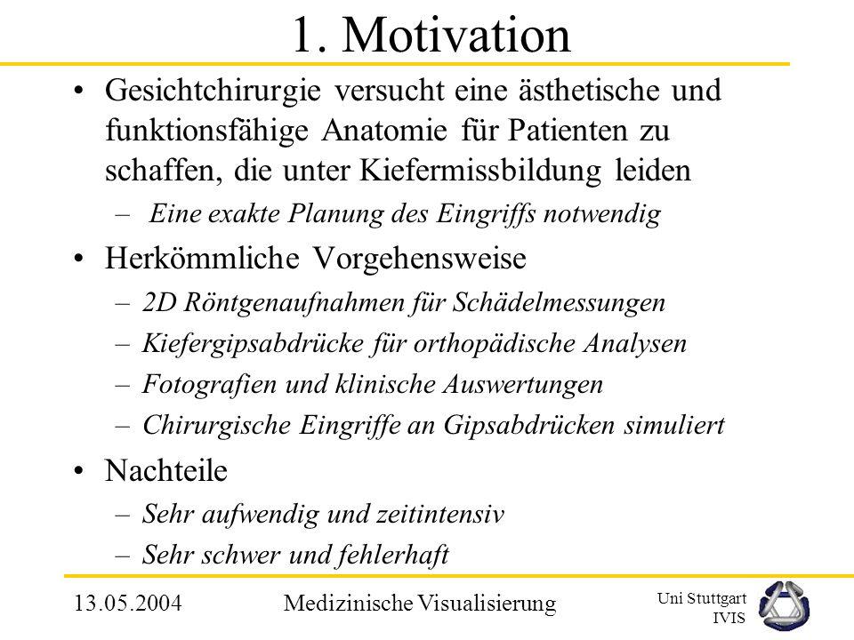 Uni Stuttgart IVIS 13.05.2004Medizinische Visualisierung MCA - Vorteile Sehr einfach zu implementieren Gute Erkennbarkeit von 3D Strukturen Hohe Datenreduktion Leichte Manipulation (Drehung etc.) Schnelle Visualisierung, durch Ausnutzung von Graphikhardware