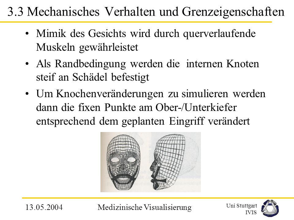 Uni Stuttgart IVIS 13.05.2004Medizinische Visualisierung 3.3 Individuelle Gitteranpassung Anpassung des allgemeinen Gitters an den Patienten erfolgt i