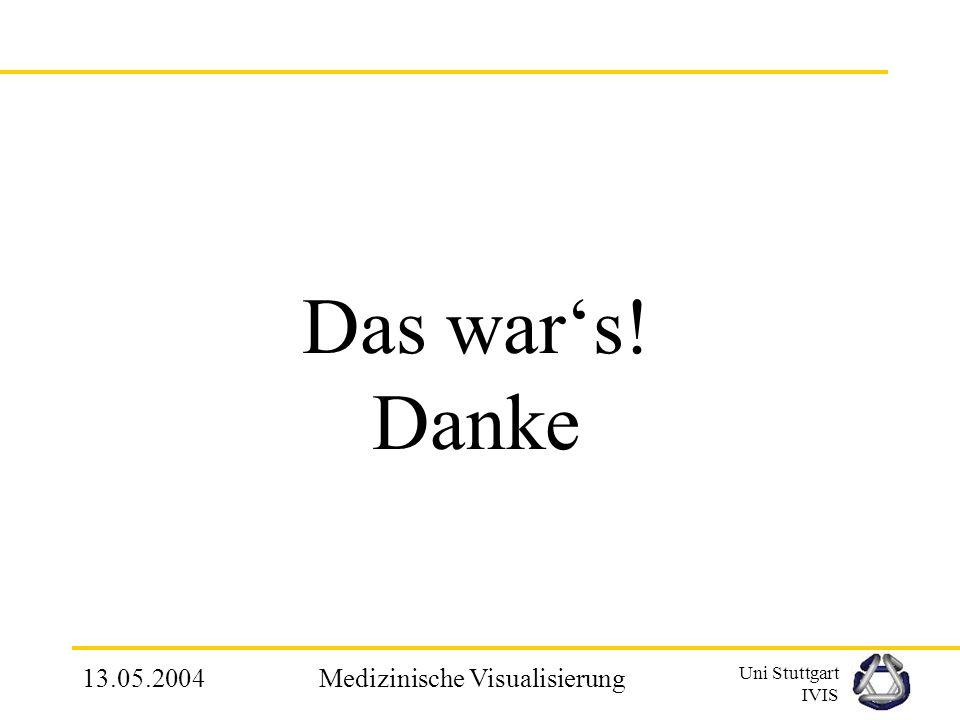 Uni Stuttgart IVIS 13.05.2004Medizinische Visualisierung 5. Zusammenfassung Relevanz der Volumenvisualisierung wurde am Bsp. der Gesichtchirurgie eing