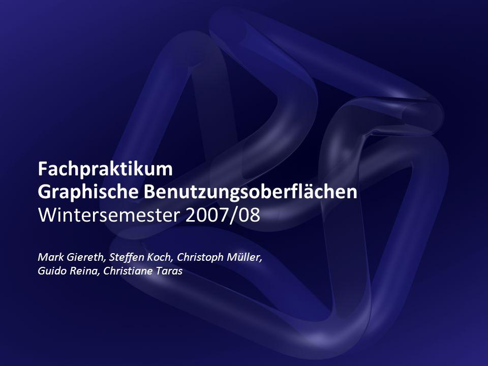 Institut für Visualisierung und Interaktive Systeme – Universität Stuttgart2 Ziele und Voraussetzungen Ziele Grundkenntnisse in der Programmierung von Benutzungsoberflächen Kennenlernen verschiedener GUI-Technologien: Win32-API, Qt, Java/Swing, WPF/XAML, HTML/AJAX Vorbereitung auf Studien-/Diplomarbeiten im Bereich Mensch-Maschine- Interaktion Voraussetzungen Gute Kenntnisse von C/C++ oder einer ähnlichen Sprache (C#, Java)