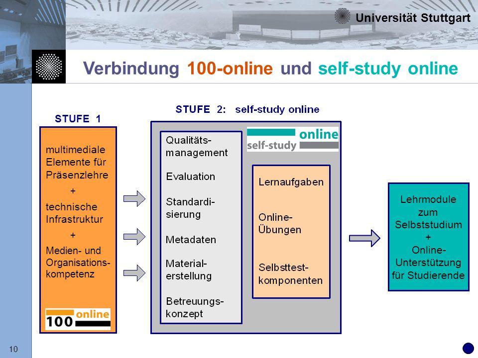 Universität Stuttgart 10 Verbindung 100-online und self-study online Lehrmodule zum Selbststudium + Online- Unterstützung für Studierende STUFE 1 mult