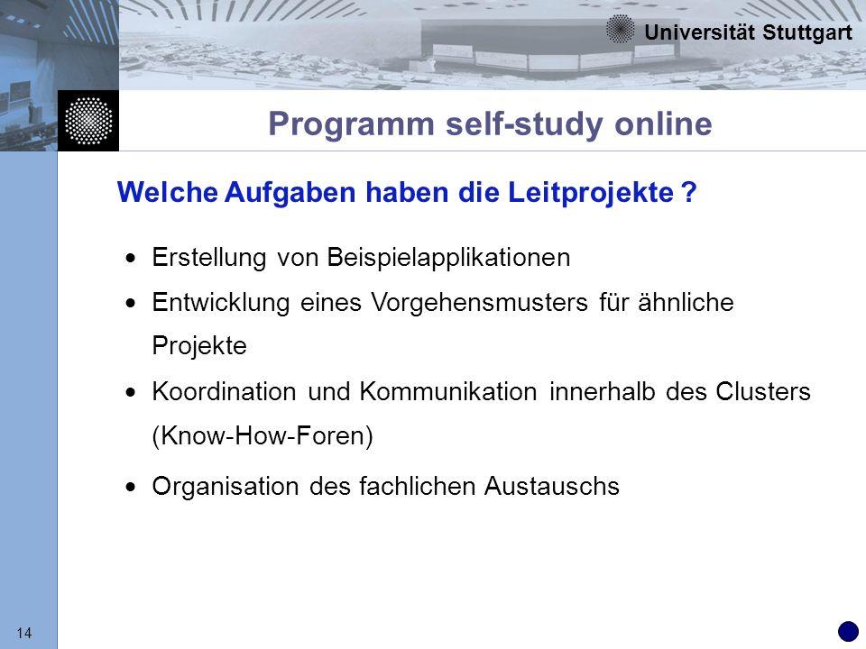 Universität Stuttgart 14 Programm self-study online Erstellung von Beispielapplikationen Entwicklung eines Vorgehensmusters für ähnliche Projekte Koor