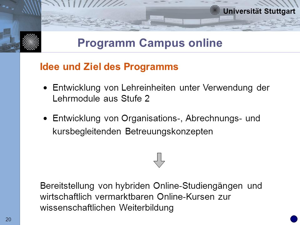 Universität Stuttgart 20 Programm Campus online Entwicklung von Lehreinheiten unter Verwendung der Lehrmodule aus Stufe 2 Entwicklung von Organisation