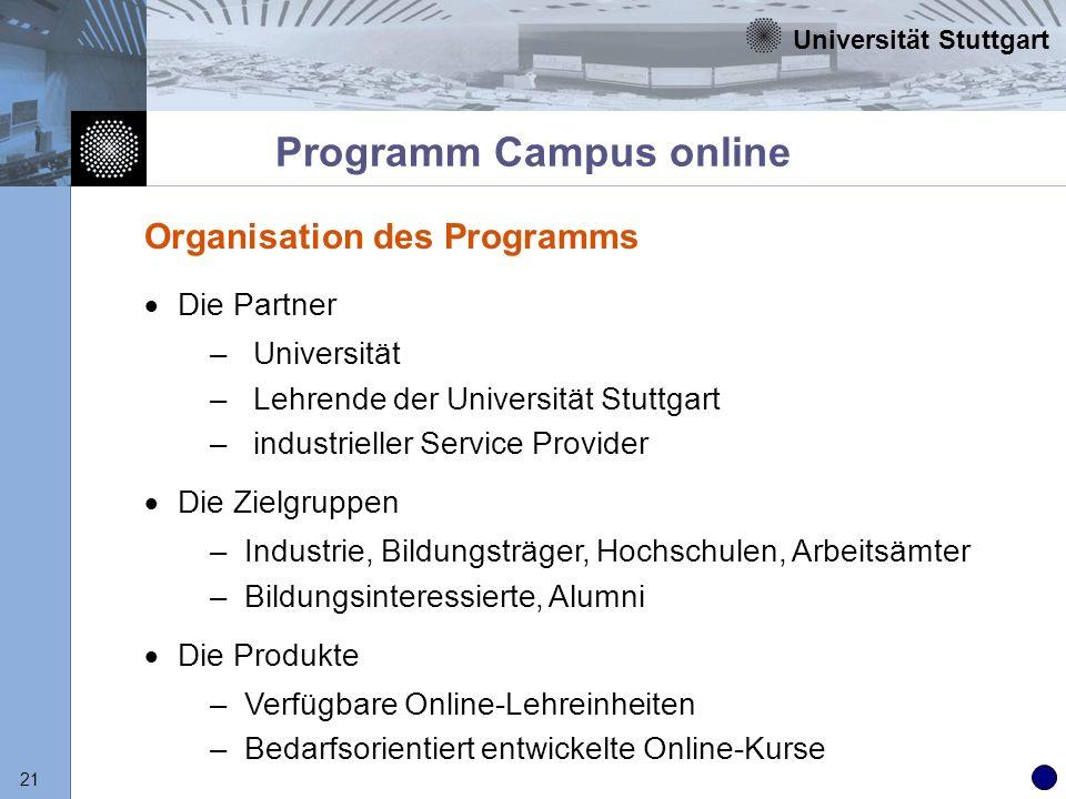 Universität Stuttgart 21 Programm Campus online Organisation des Programms Die Partner – Universität – Lehrende der Universität Stuttgart – industriel