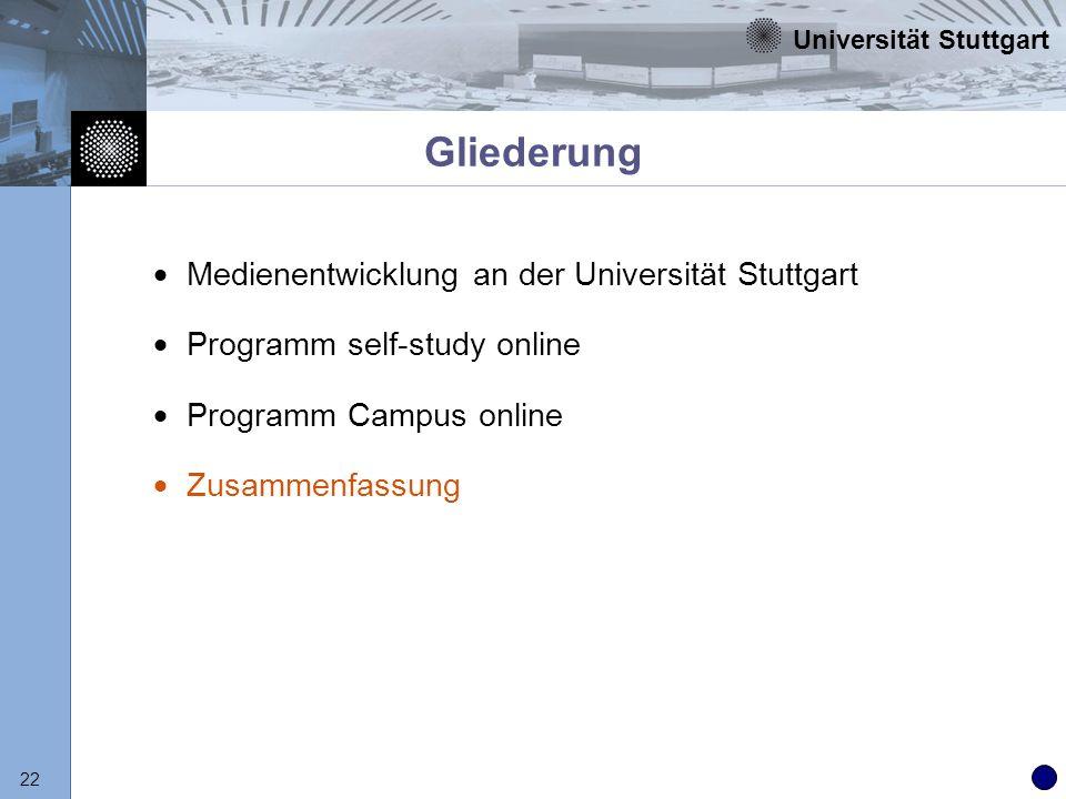 Universität Stuttgart 22 Gliederung Medienentwicklung an der Universität Stuttgart Programm self-study online Programm Campus online Zusammenfassung