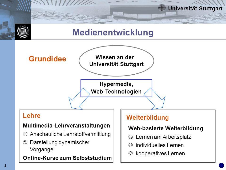 Universität Stuttgart 5 Medienentwicklung Aufbau von Medienkompetenz auf breiter Basis Schaffung von wiederverwendbaren Online- Lehrmaterialien Verbesserung der Lernsituation der Studierenden Vermarktung von Online-Kursen im Rahmen der wissenschaftlichen Weiterbildung Realisierung: dreistufiges Gesamtkonzept Ziele