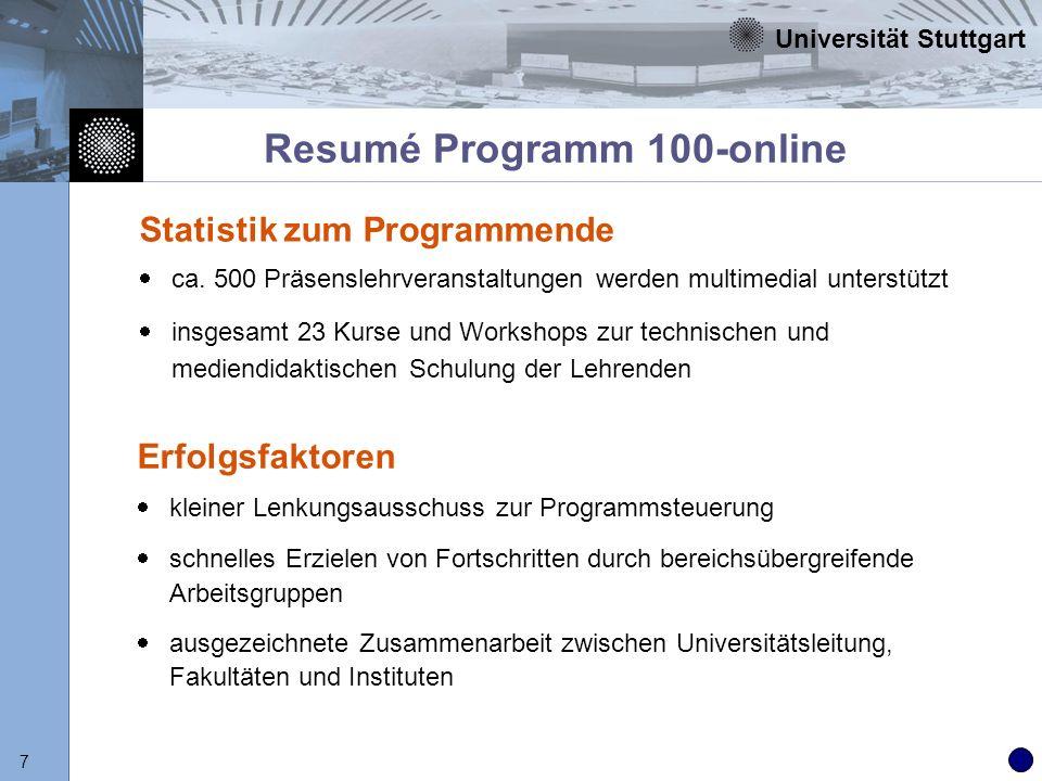 Universität Stuttgart 7 Resumé Programm 100-online Statistik zum Programmende ca. 500 Präsenslehrveranstaltungen werden multimedial unterstützt insges