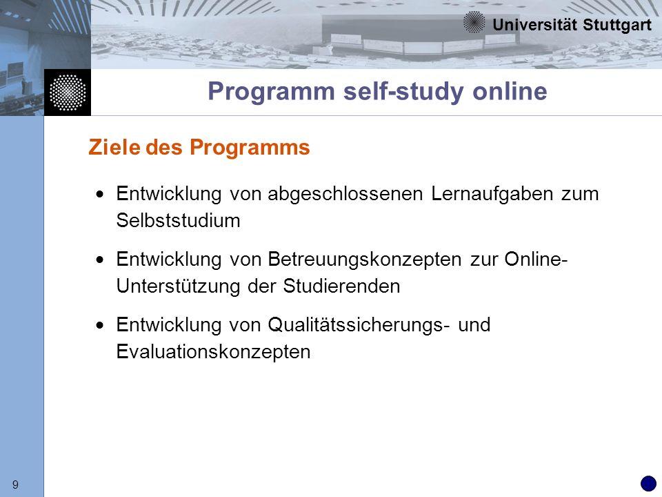 Universität Stuttgart 20 Programm Campus online Entwicklung von Lehreinheiten unter Verwendung der Lehrmodule aus Stufe 2 Entwicklung von Organisations-, Abrechnungs- und kursbegleitenden Betreuungskonzepten Bereitstellung von hybriden Online-Studiengängen und wirtschaftlich vermarktbaren Online-Kursen zur wissenschaftlichen Weiterbildung Idee und Ziel des Programms
