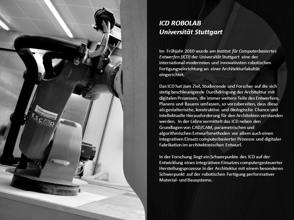 ICD ROBOLAB Universität Stuttgart Im Frühjahr 2010 wurde am Institut für Computerbasiertes Entwerfen (ICD) der Universität Stuttgart eine der internat