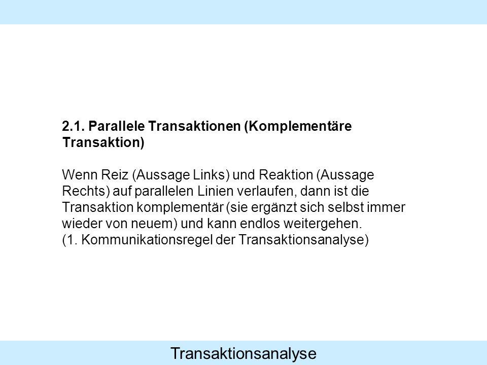 Transaktionsanalyse 2.1. Parallele Transaktionen (Komplementäre Transaktion) Wenn Reiz (Aussage Links) und Reaktion (Aussage Rechts) auf parallelen Li