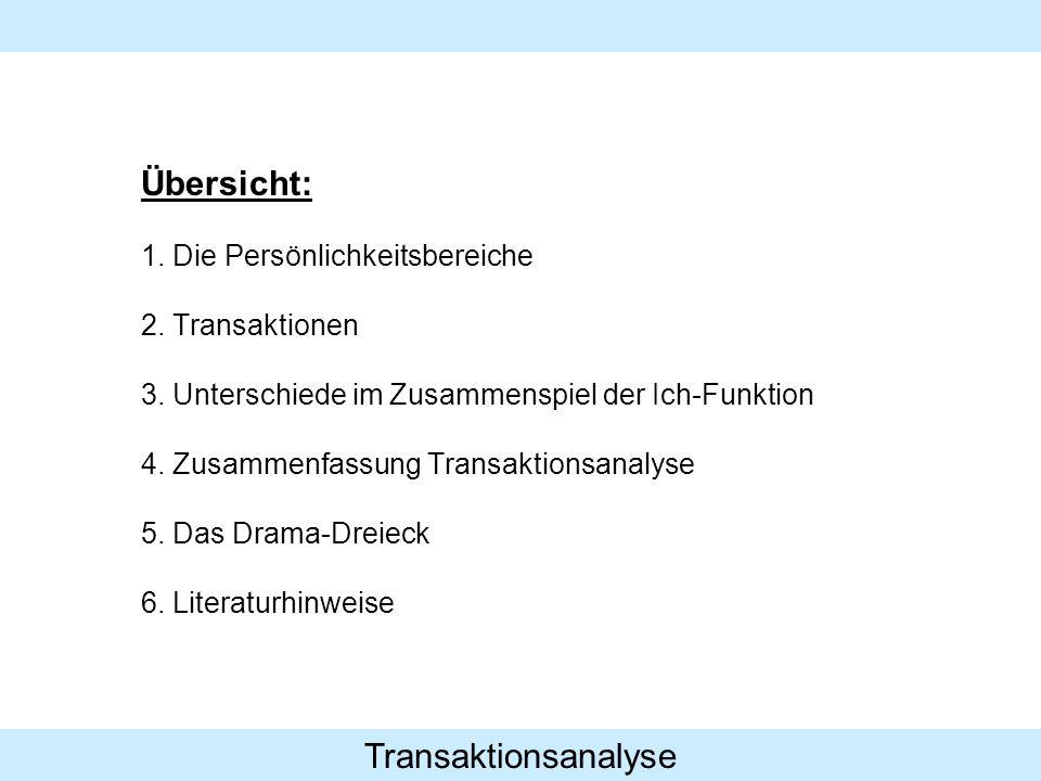 Transaktionsanalyse Übersicht: 1. Die Persönlichkeitsbereiche 2. Transaktionen 3. Unterschiede im Zusammenspiel der Ich-Funktion 4. Zusammenfassung Tr